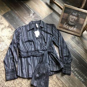 Black Silver Stripe Wrap Dress Shirt NWT Sz M